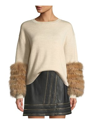 Alice + Olivia Shiela Pullover with Fur Cuffs