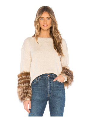 Alice + Olivia Shiela Sweater With Fur Cuffs