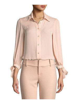 Alice + Olivia Simon Tie-Sleeve Button-Down Top