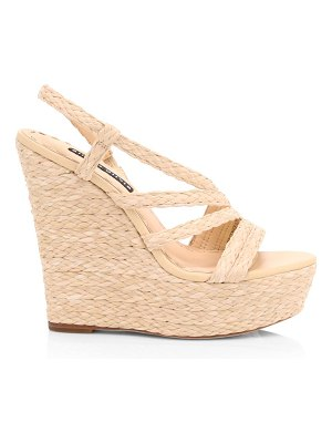Alice + Olivia tenley raffia & leather platform wedge sandals