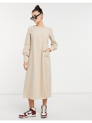 Aligne organic cotton midi dress with detailed sleeves in stone-neutral