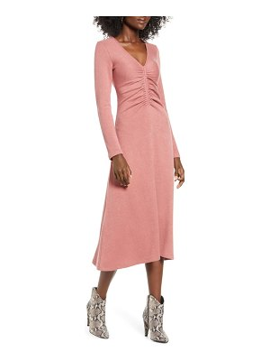 ALL IN FAVOR cinch front long sleeve midi sweater dress