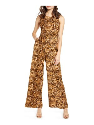 ALL IN FAVOR tie waist wide leg jumpsuit