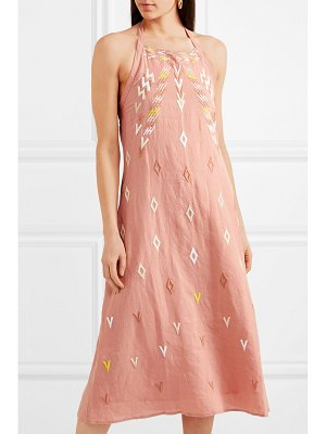 All Things Mochi gina embroidered linen halterneck dress