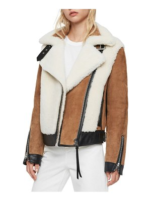 Allsaints elisa genuine shearling & leather coat