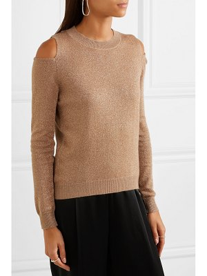 ALLUDE cold-shoulder metallic wool and cashmere-blend sweater