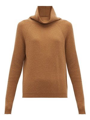 ALLUDE high neck ribbed cashmere sweater