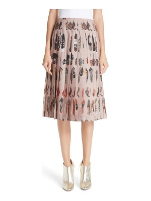 Altuzarra feather print pleated skirt