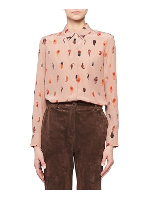 Altuzarra Feather-Print Silk Crepe Button-Up Blouse