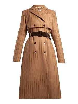 Altuzarra Higgins Pinstriped Double Breasted Wool Blend Coat