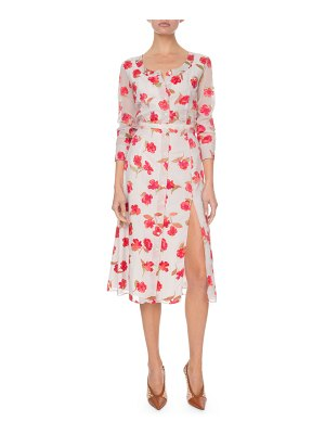 Altuzarra Long-Sleeve Floral V-Neck Dress
