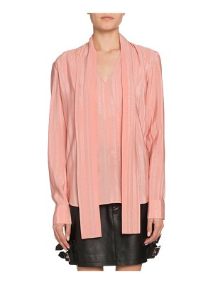 Altuzarra Long-Sleeve Tie-Neck V-Neck Blouse