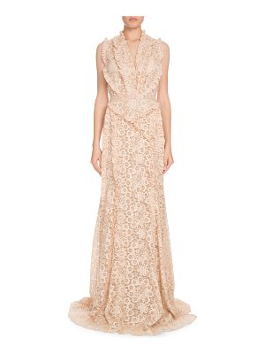 Altuzarra Medina Sleeveless Floral-Lace Column Evening Gown w/ Ruffled Trim