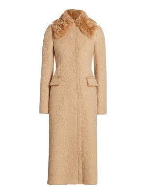 Altuzarra pedro sheep fur-collar alpaca & wool long coat