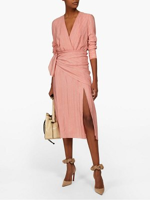 Altuzarra sparks lamé-striped georgette midi dress