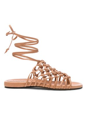 Alumnae Knotted Leather Ankle Wrap Sandals