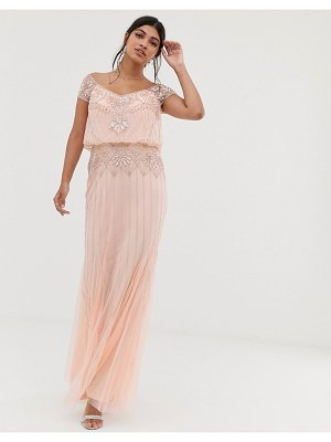 Amelia Rose baroque embellished cap sleeve maxi dress in soft peach