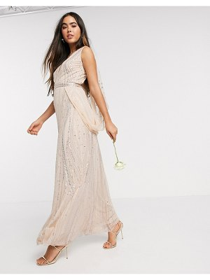 Amelia Rose bridesmaid embellished wrap cape sleeve maxi dress in rose gold
