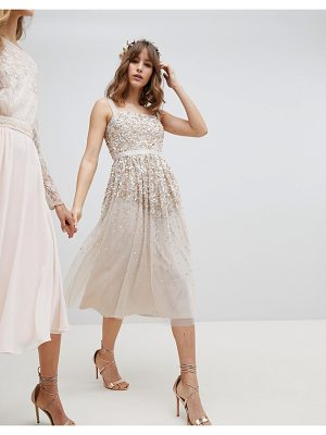 Amelia Rose Embellished Ombre Sequin Cami Strap Midi Dress