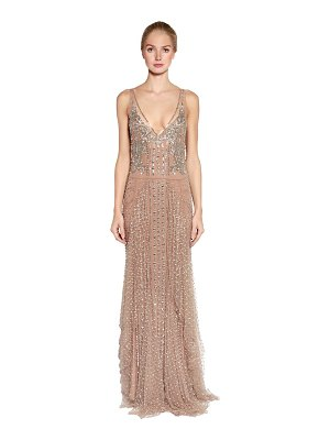 Amen Couture Embellished stretch tulle gown