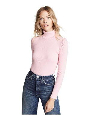 AMO puff sleeve ribbed turtleneck
