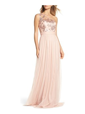 AMSALE Ashlynn Embellished One-Shoulder Gown
