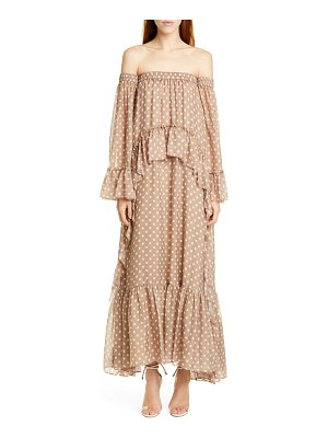 AMUR odessa off the shoulder polka dot silk maxi dress