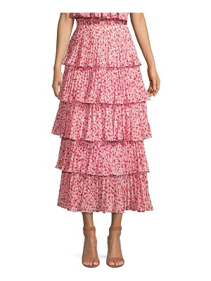 AMUR paisly tiered ruffle skirt