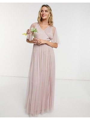 Anaya with love bridesmaid tulle flutter sleeve maxi dress in pink