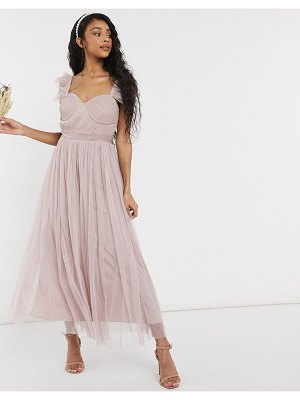 Anaya with love bridesmaid tulle ruffle sleeve midaxi dress in pink
