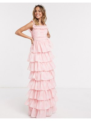 Anaya with love frill off shoulder printed tiered prom maxi dress in pink print