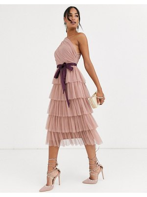 Anaya with love one shoulder tiered midi dress in taupe-pink