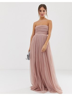 Anaya with love tulle bandeau maxi dress with satin trim in blush-pink