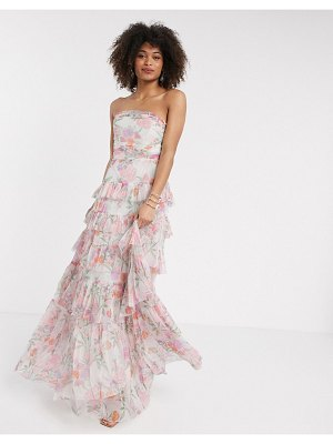 Anaya with love tulle bandeau tiered maxi dress in pink floral print
