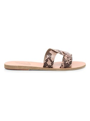 Ancient Greek Sandals desmos flat snakeskin-embossed leather sandals