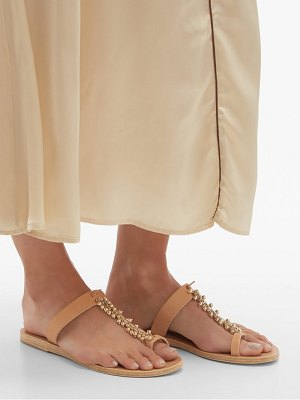 Ancient Greek Sandals iris beaded chain leather sandals