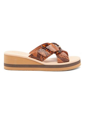 Ancient Greek Sandals thais rainbow python-effect leather slides