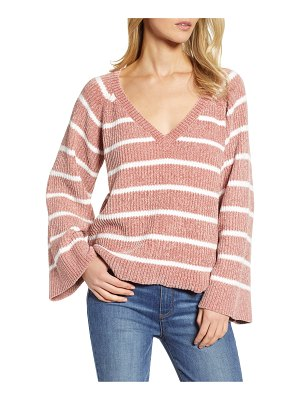.Layered &  stripe v-neck sweater