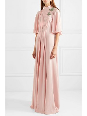 ANDREW GN crystal-embellished pleated silk-chiffon gown