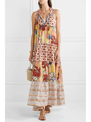 Anjuna tiered metallic-trimmed printed cotton-blend voile maxi dress