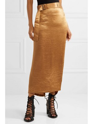 Ann Demeulemeester wrap-effect belted crinkled-satin midi skirt