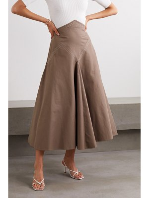 Anna Mason lily paneled cotton-twill midi skirt
