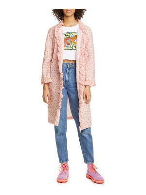 Anna Sui butterfly quilted rosebuds print cotton coat
