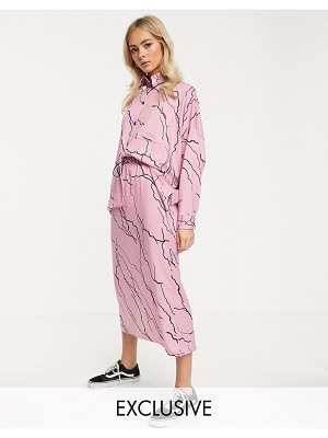 Another Reason midi skirt with toggle waist in lightening print two-piece-pink