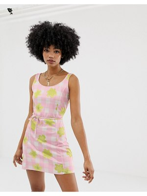 Another Reason mini dress in gingham floral-pink