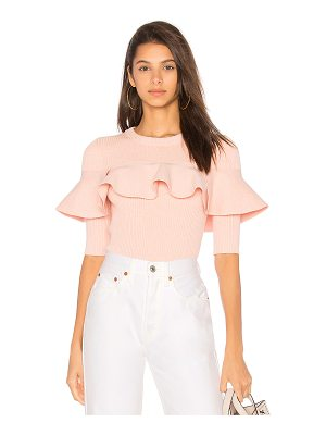APIECE APART Cropped Ribbed Ruffle Top