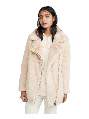 Apparis rose faux fur coat