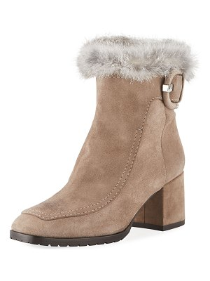Aquatalia Charlize Suede Booties with Fur Trim