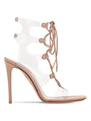 Aquazzura 105mm milos leather & plexi sandals