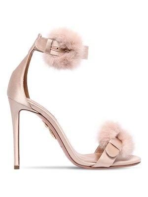 Aquazzura 105mm sinatra fur & satin sandals